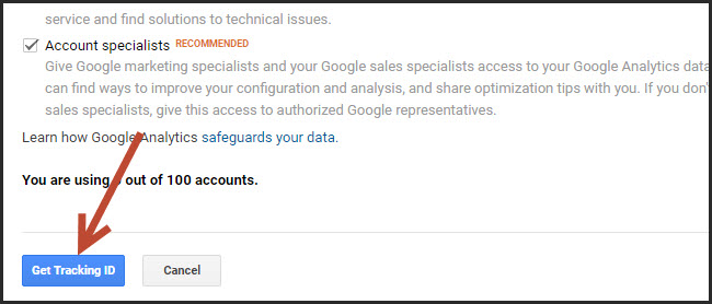Lấy mã code cài đặt google analytics