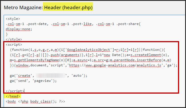 paste đoạn tracking code cài đặt google analytics