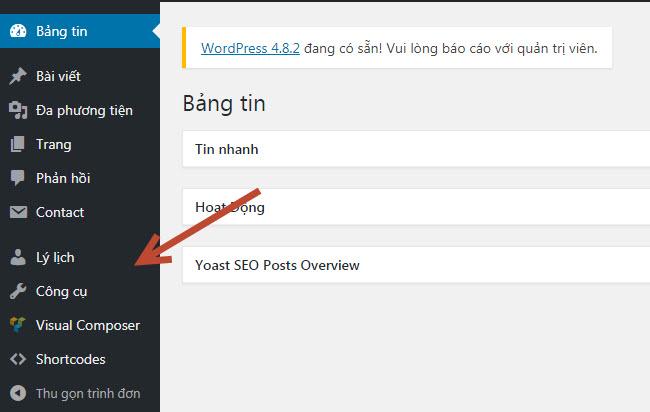 Tài khoản của bạn trên website wordpress không full quyền