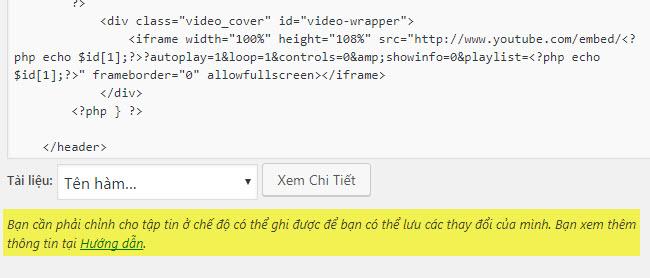 Mục giao diện không cho cập nhật google analytics code