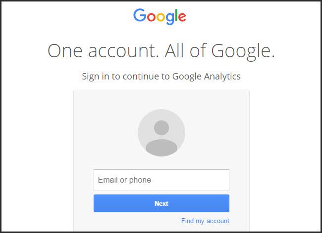 Đăng ký Analytics bằng Gmail