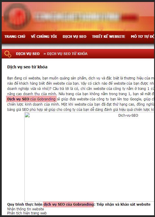 Ví dụ một website copy nội dung web GOBRANDING.