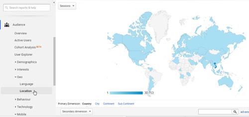 Thống kê địa lý google analytics