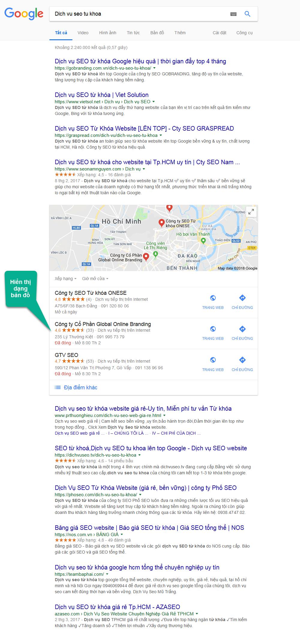 Hiển thị bản đồ trong trang kết quả tìm kiếm