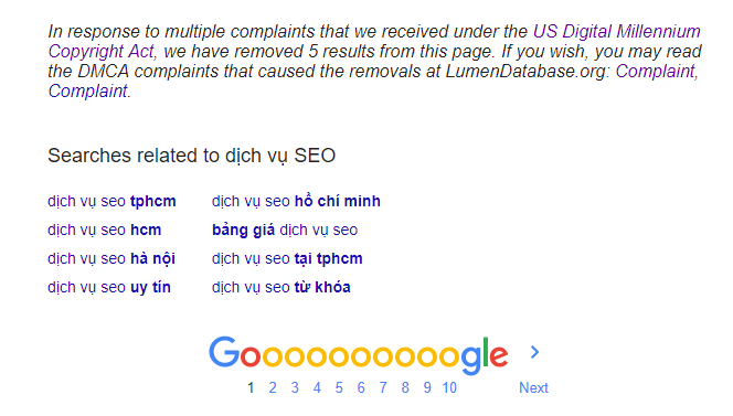 Google thông báo xóa những nội dung copy khỏi trang theo khiếu nại của người dùng từ DMCA