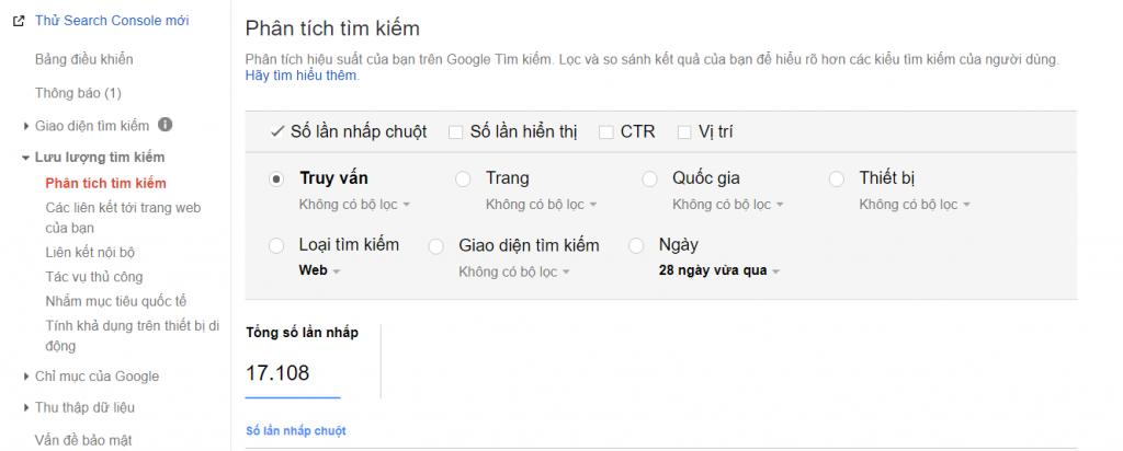 Phân tích tìm kiếm trong Google Webmastertool