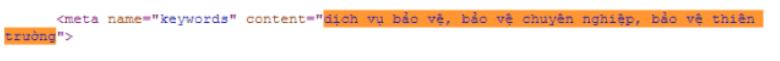 Phần bôi màu là các từ khóa được điền vào trong thẻ meta keyword
