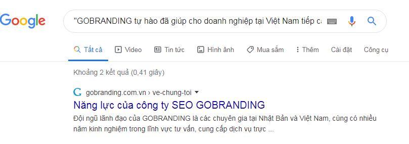 Kiểm tra trang web copy nội dung trên Google.