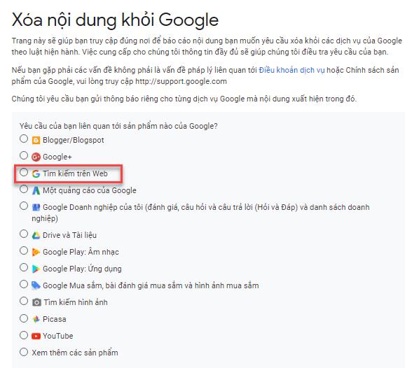 Chọn mục tìm kiếm trên Web để báo cáo nội dung vi phạm bản quyền