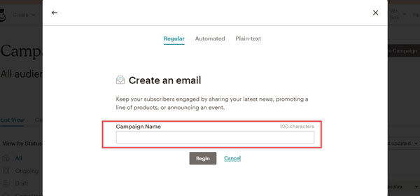 Enter the name information for the email marketing campaign