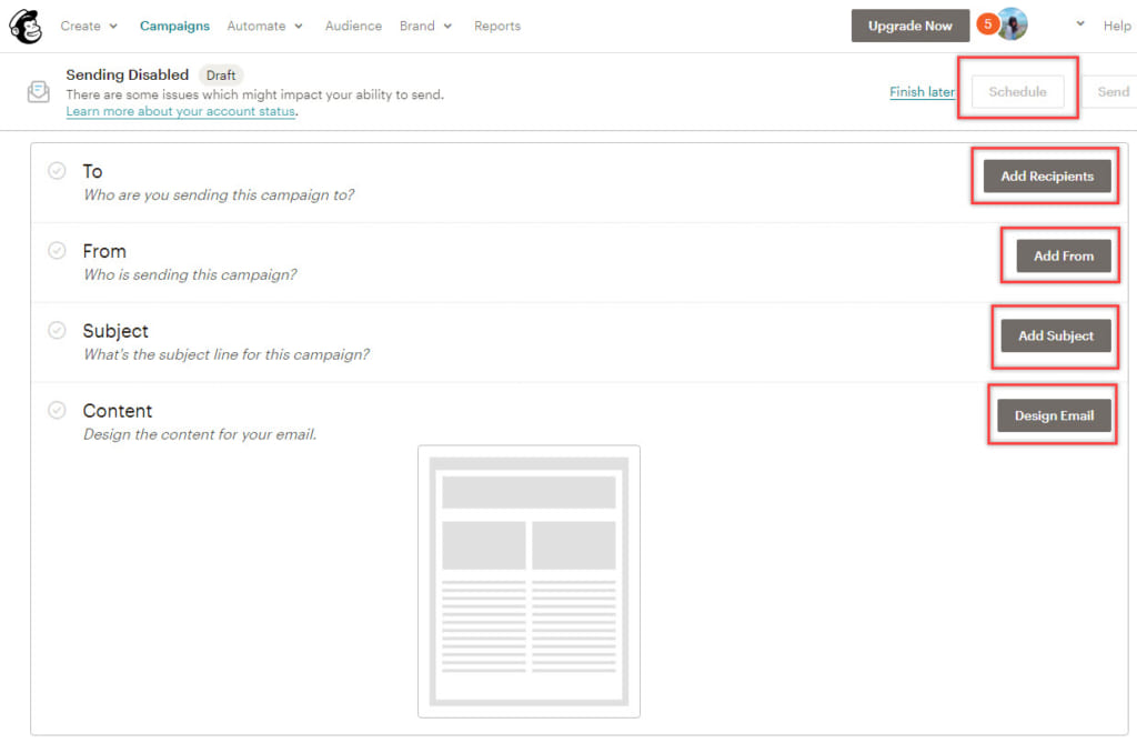 Mailchimp step by step guide to creating a campaign