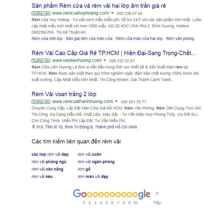 Quảng cáo Google Search hiển thị 3 vị trí chân trang