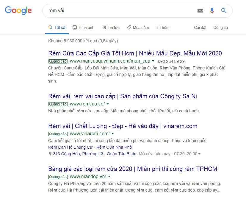 Quảng cáo google search ở 4 vị trí top trang nhất