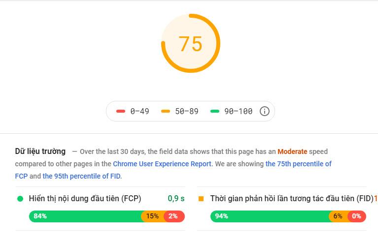 Kết quả kiểm tra tốc độ trang web ảnh hưởng đến kết quả seo top google