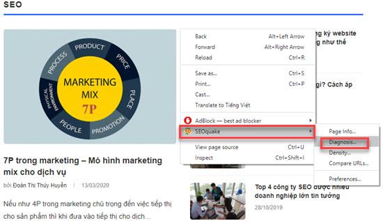 mở website cần kiểm tra với seoquake