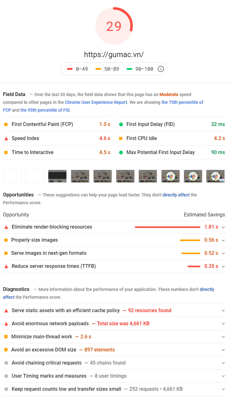 kiểm tra tốc độ tải trang để chăm sóc website