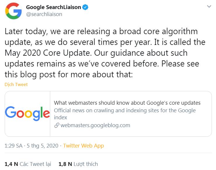 Thông báo của Google về bản cập nhật thuật toán lần thứ 2 năm 2020.