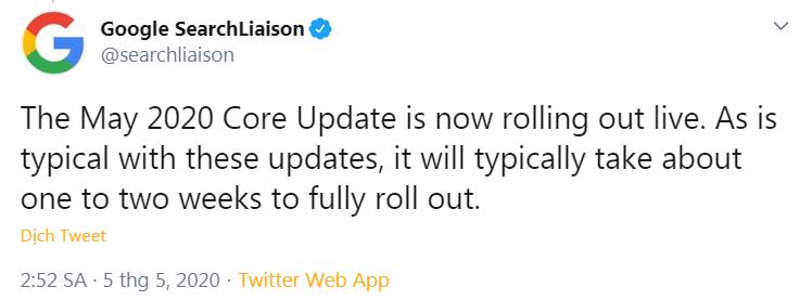 Thông báo đăng tải trên Twitter Google