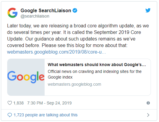 The September 2019 Core Update