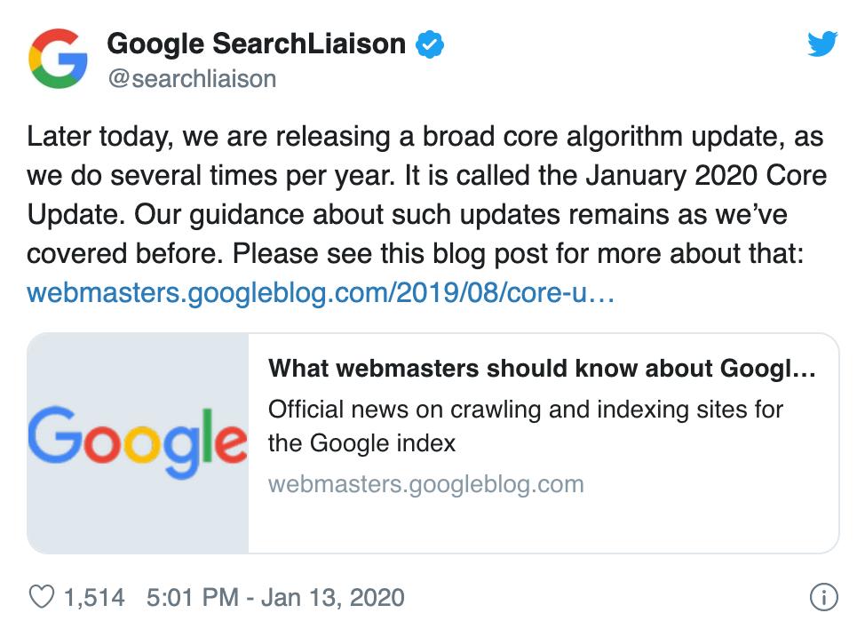 """Bạn cập nhật lõi mở rộng """"The January 2020 Google Core Update"""""""