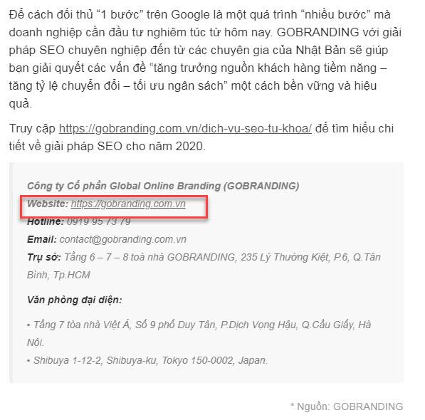 Một bài PR của GOBRANDING trên website khác được gắn địa chỉ website.