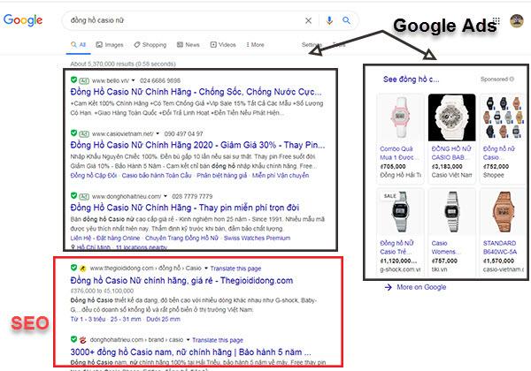 Hình thức quảng cáo Google Search và Google Shopping.