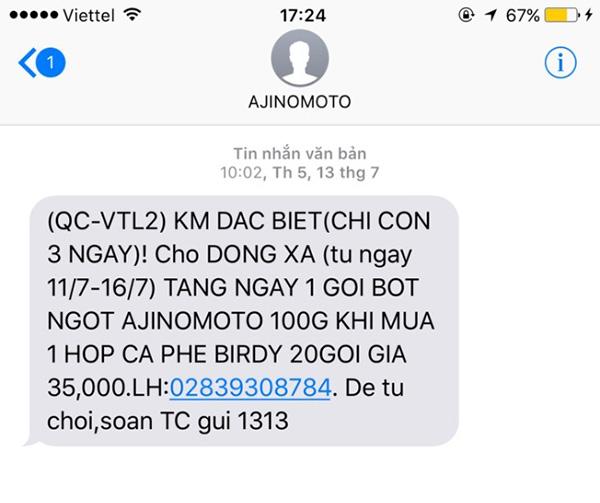 Nội dung sms thường bị giới hạn