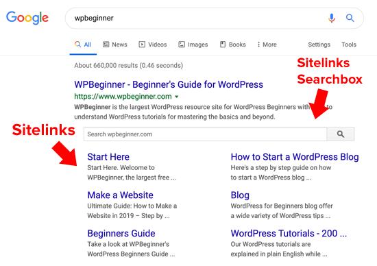 Ví dụ về Sitelink Searchbox trên Google.
