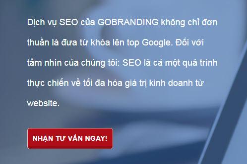 CTA đặt ở đầu trang chủ trên website của GOBRANDING.