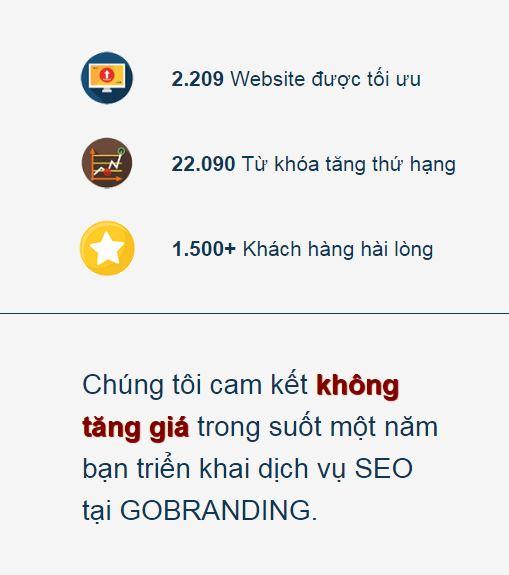 GOBRANDING cam kết không tăng giá trong suốt một năm triển khai dịch vụ SEO.