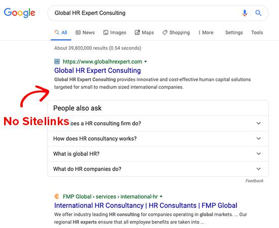 Tên thương hiệu chung chung rất khó để tạo thành Sitelink.