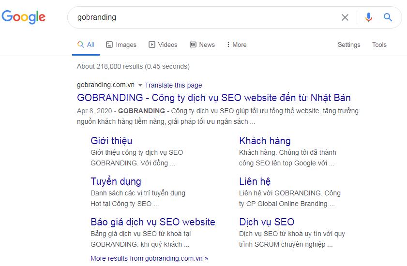 Sitelink hiển thị những trang web chính trên website.