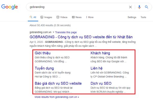 Ví dụ về Sitelink của GOBRANDING.