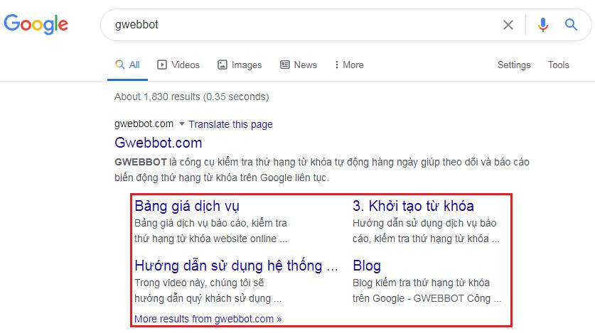 Ví dụ về Sitelink khi tìm kiếm từ khóa Gwebbot.