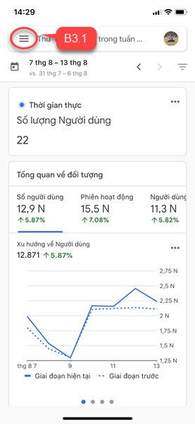 Di chuyển đến mục xem traffic trên app Analytics.
