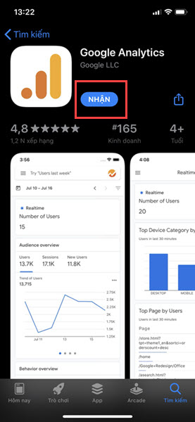 Tải app Google Analytics trên Google Play hoặc App Store