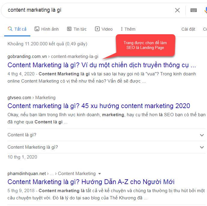 Nội dung trên website được chọn làm Landing page để tối ưu hóa công cụ tìm kiếm.