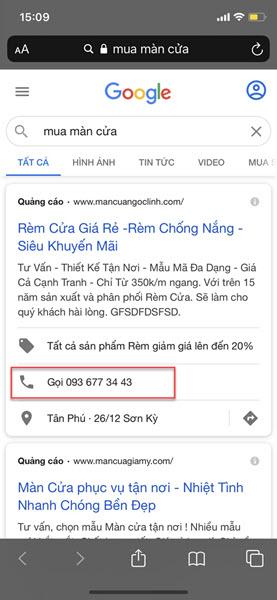 CTA sử dụng trong quảng cáo Google Search.