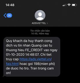 Tin nhắn xác nhận yêu cầu từ chối nhận quảng cáo từ người quảng cáo.