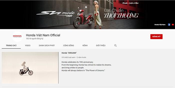 Kênh Youtube của Honda Việt Nam