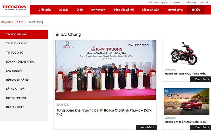 Trang Web của Honda Việt Nam: Mục tin tức