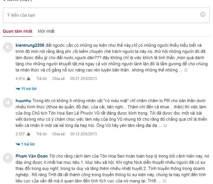 Ý kiến bình luận của khán giả trên Vnexpress về sự kiện của Tôn Hoa Sen.