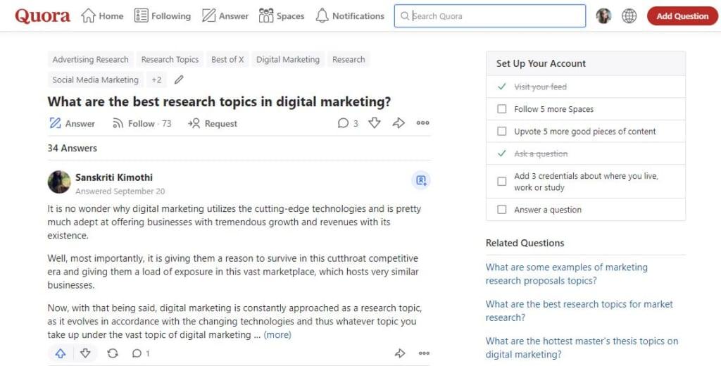 nghiên cứu thị trường bằng mạng xã hội Quora